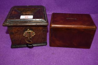 An antique money deposit box or similar lockable wooden safe of small size with key and similar