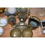 A selection of finely hand worked Indian and similar brass works including two Islamic style