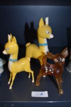 Two vintage 1960's advertising figures for Baby Cham and similar clear cast figure all no damage