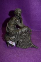 A French spelter cast figure base of a woman in thought