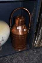 A large 2 gallon copper dairy or similar farm house canister 55cm high