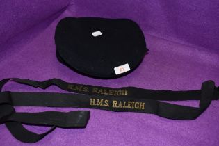 A Navy hat or cap from the H M S Raleigh and similar ribbons