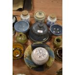 A selection of studio and similar pottery including lidded dome