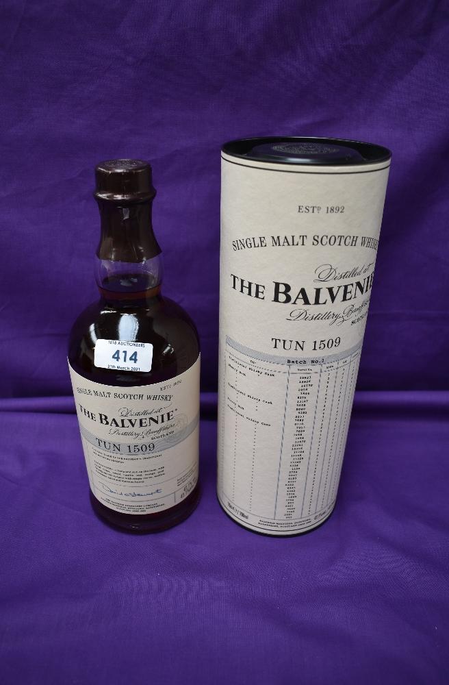A bottle of The Balvenie Single Malt Scotch Whisky, distilled at Banffshire, Tun 1509 batch No1,