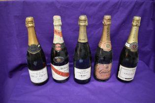Five bottles of Champagne, Albert Etienne Reimes, Cordon Rouge GH Mumm & Co Brut, GH Mumm & Co