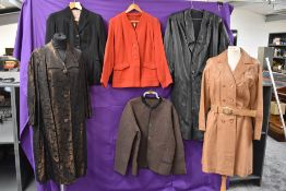 Six ladies mixed vintage coats including two leather coats, a 1950s tailored jacket and more.