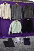 A varied lot of mens clothing including sports jackets,blazers,waist coats and trousers, some with