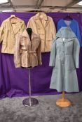 Five ladies vintage coats and jackets including 1970s suede belted coat in taupe.