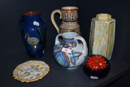 A varied lot of vintage ceramics including Flaxman ware vase and more.