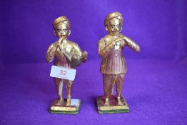 Two vintage wire work and plaster figures of Indian musicians with gilt finish