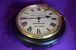 A large vintage wooden cased North Eastern marine wall clock having substantial chain fusee