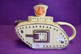 A novelty Sadler teapot depicting Winston in tank.