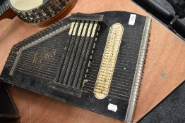A early parlour style music instrument Zither Having German Autoharps paper label in fine