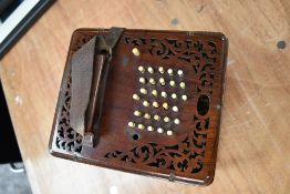A 19th Century Rosewood concertina of rare square form, believed to be Lachenal, circa 1883,