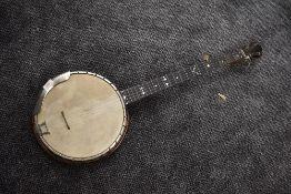 An early 20th Century five string banjo, 'The Windsor Popular Model 1', Castle Works, Birmingham,,