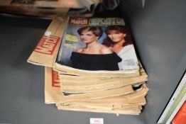 A collection of 'Paris Match' magazines, 1980s, many in original brown manilla envelope sleeves