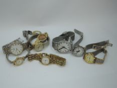 A selection of wrist watches including Mondaine, Tissot, Rotary, Ingersoll etc