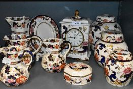 A selection of ceramics by Masons in the Mandarin and Mandalay design including clock and ginger