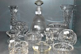 A selection of clear and cut glass wares including Stuart and Edinburgh