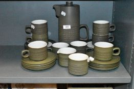 A part coffee service by Denby in the Camelot green and white glaze