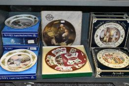 A selection of ceramic display plates by Aynsley and similar most having boxes