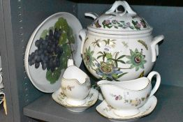 A selection of table wares including two Wedgwood gravy boats and Portmeirion soup tureen