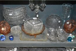 A selection of clear cut and pressed glass including colour examples