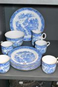 A part tea service by Royal Worcester in a Willow wear design 11 pieces in total