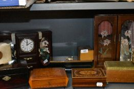 A selection of musical and similar jewellery cases and boxes including mid century examples