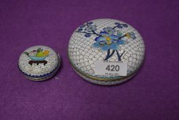 Two pieces of cloisonne both being lidded containers
