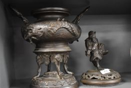 A Japanese bronze incense burner or lidded Koro having Samurai figure lid and dragon decorated body