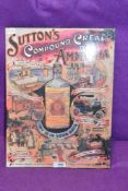 A reproduction sign for Suttons Compound cream of amonia