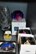 A selection of art glass including Caithness vase and paper weights