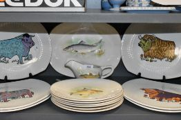A selection of mid century meat chargers by Iron Stone pottery Beefeater and similar Wedgwood fish