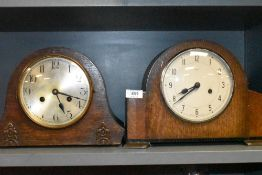 Two oak cased art deco mantle or similar clocks including Enfield