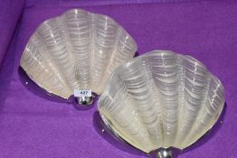 Two art deco chrome and pressed sea shell wall lights