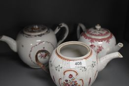 Three antique late 18th porcelain teapots each having hand decorated enamel scenes and historic