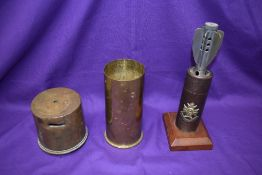 Three pieces of WW1 Trench Art, 18P Shell Case Money Bank, Souvenir from Lange Mark 1914-19, reverse