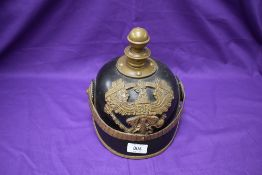 A reproduction WWI German officer's Pickelhaube Helmet, no liner present