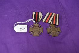 Two German 1914-1918 Honour Cross Medals, both with ribbons, one specially mounted