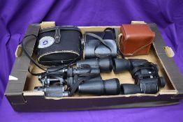 Five pairs of mixed vintage Binoculars including Kershaw, Mirinda etc along with a Kodak Box Brownie