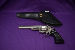 A SMG Replica Smith & Weston Magnum 44, with a black leather US holster