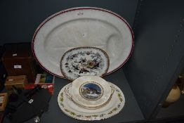 A selection of antique meat chargers and similar serving plates