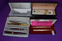 A collection of pens including Sheaffer fountain pen,Parker 17 and more.