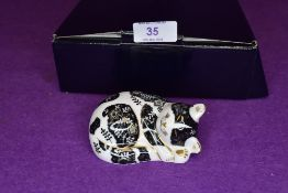 A Royal Crown Derby misty kitten paper weight having silver stopper,with box.