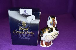 A Crown Derby puffin having gold stopper.