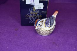 A Royal Crown Derby goldcrest paper weight having silver stopper,with box.