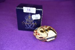 A Royal Crown Derby country mouse having gold stopper,with box.