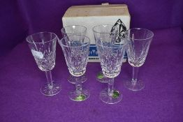 A set of six Waterford crystal glass sherry glasses in the Lismore design with box