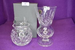 Two clear cut crystal glass vases by Waterford crystal a Marquis vase and similar tall stemmed